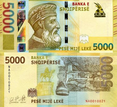 P- NEW UNC Banknotes 2019 2017 Albania 5000 Leke
