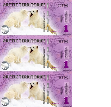 2014 Polar Bears Polymer Unc Arctic Territories $1 1//2 Polar Dollar