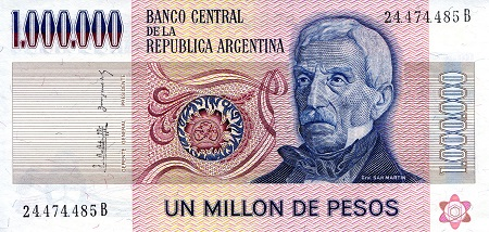 1,000,000 Pesos  aUNC/XF (See large scan) Banknote