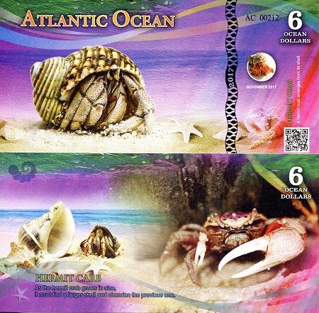 ATLANTIC OCEAN 3 Ocean Dollars Fun-Fantasy Note 2016 Sea Turtle Private Issue