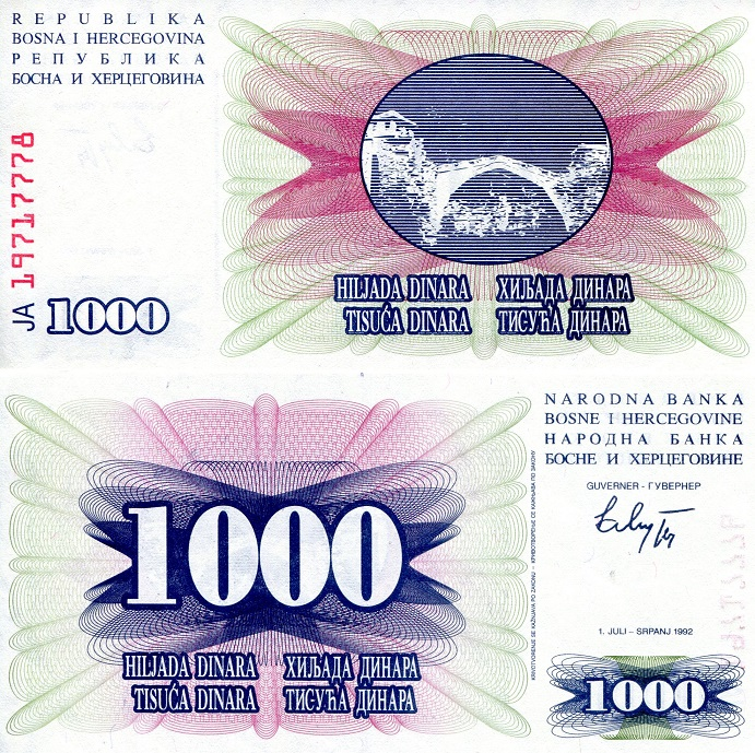 1,000 Dinara  aUNC small mark on note) Banknote