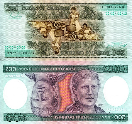 BRAZIL 500 CRUZEIROS 1988 P 212 d SIGN 26 UNC