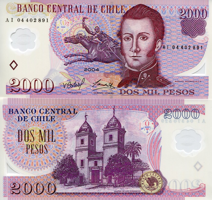 Manuel Rodriguez Chile $ 2000 New banknote Polymer UNC