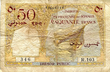 50 Francs  VG/G (tear into note - Pinholes) Banknote