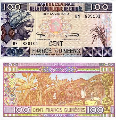 Guinea 2 Note Set 2012 p35b /& p39b 100 /& 500 Francs