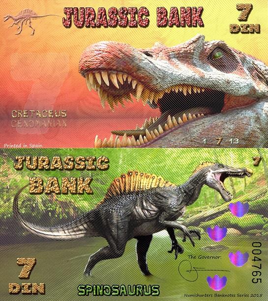 JURASSIC BANK 15 DIN POLYMER 2015 POLYMER MOSASAURUS WHALE DINOSAUR UNC