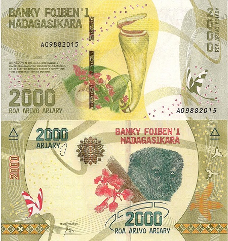2,000 Ariary  UNC Banknote