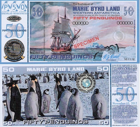 MARIE BYRD LAND 2//3 Penguino Fun-Fantasy Note 2013 Specimen Issue Penguins .60