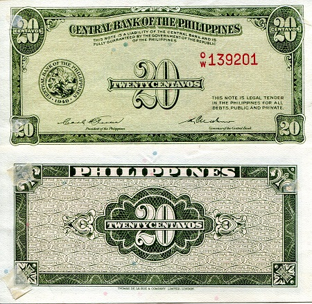 20 Centavos  XF (tape residue corners) Banknote