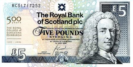 364 UNC Note Royal College of Surgeons Edinburgh Low# 2005 Scotland 5 Pounds P