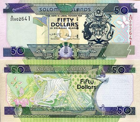 SOLOMON ISLANDS 20 DOLLARS ND 2004 P 28 C//2 PREFIX UNC