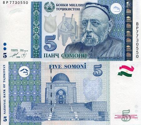 P-14A Banknotes UNC Tajikistan 1 Somoni 1999 2010