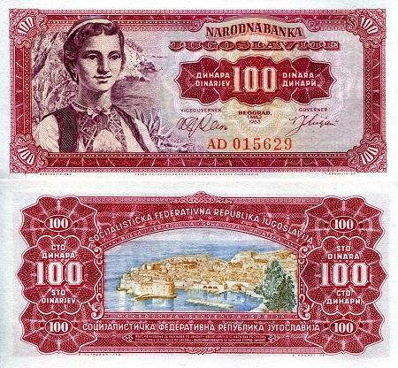 Yugoslavia 100,000 100000 P-97 aUNC /> Girl dinara 1989