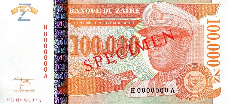 ZAIRE 500,0000 500000 ZAIRES 1992 P 43 UNC