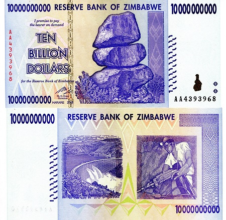 ZIMBABWE 1 5 10 20 50 100 500 Dollars AA 2009 P-92 93 94 95 96 97 98 UNC