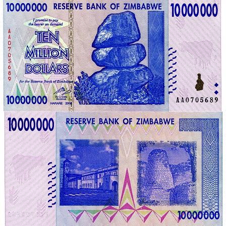 60 unused 2008 500 million zimbabwe Pick-number Dollars