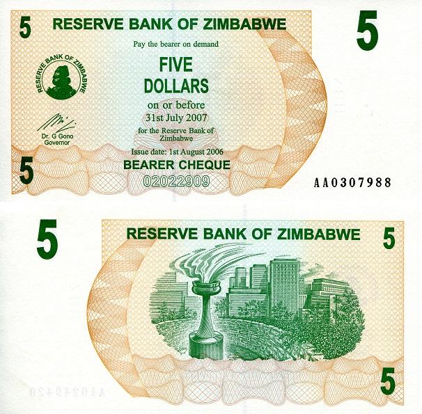 Zimbabwe 5 Dollars 2007 P-66 Unc 100 Trillion Series
